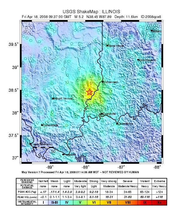 April 18 Quake Intensity